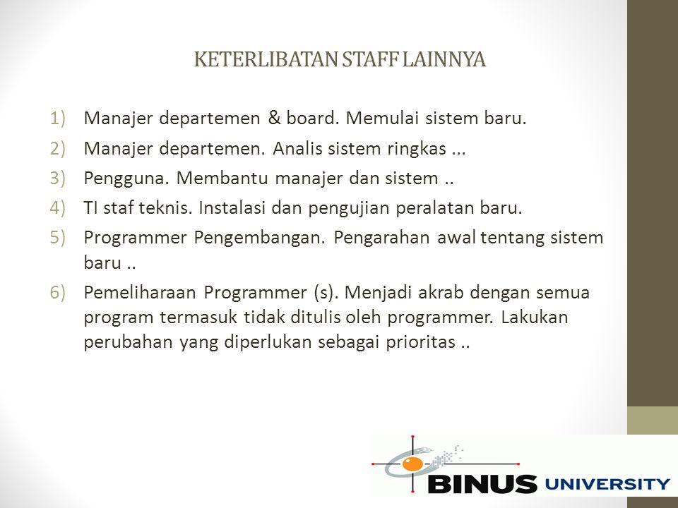 KETERLIBATAN STAFF LAINNYA 1)Manajer departemen & board. Memulai sistem baru. 2)Manajer departemen. Analis sistem ringkas... 3)Pengguna. Membantu mana