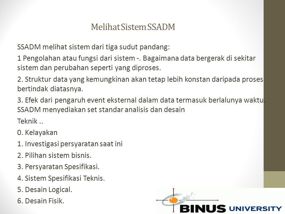 Melihat Sistem SSADM SSADM melihat sistem dari tiga sudut pandang: 1 Pengolahan atau fungsi dari sistem -. Bagaimana data bergerak di sekitar sistem d
