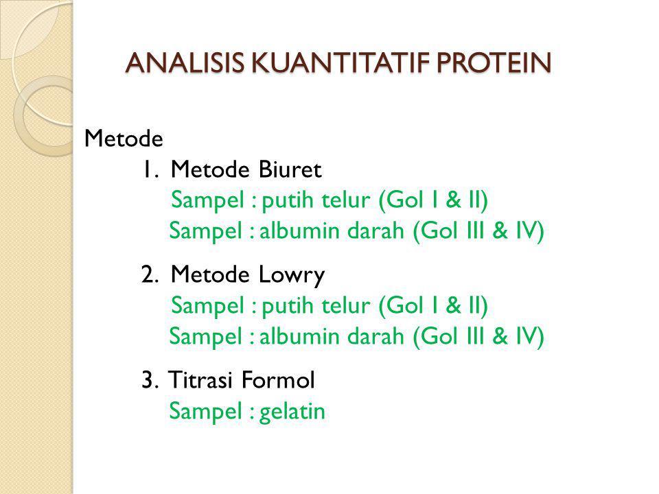 ANALISIS KUANTITATIF PROTEIN Metode 1. Metode Biuret Sampel : putih telur (Gol I & II) Sampel : albumin darah (Gol III & IV) 2. Metode Lowry Sampel :