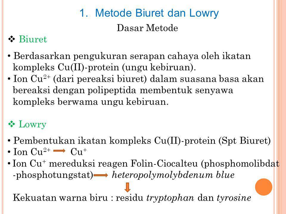 1.Metode Biuret dan Lowry Dasar Metode  Biuret Berdasarkan pengukuran serapan cahaya oleh ikatan kompleks Cu(II)-protein (ungu kebiruan). Ion Cu 2+ (