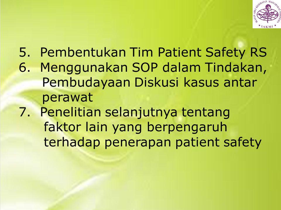 5. Pembentukan Tim Patient Safety RS 6. Menggunakan SOP dalam Tindakan, Pembudayaan Diskusi kasus antar perawat 7. Penelitian selanjutnya tentang fakt