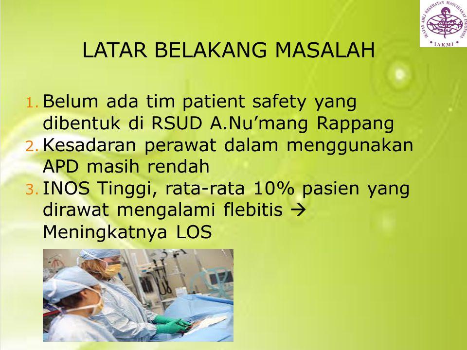 LATAR BELAKANG MASALAH 1. Belum ada tim patient safety yang dibentuk di RSUD A.Nu'mang Rappang 2. Kesadaran perawat dalam menggunakan APD masih rendah
