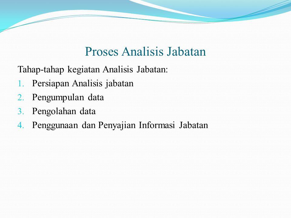 Proses Analisis Jabatan Tahap-tahap kegiatan Analisis Jabatan: 1. Persiapan Analisis jabatan 2. Pengumpulan data 3. Pengolahan data 4. Penggunaan dan