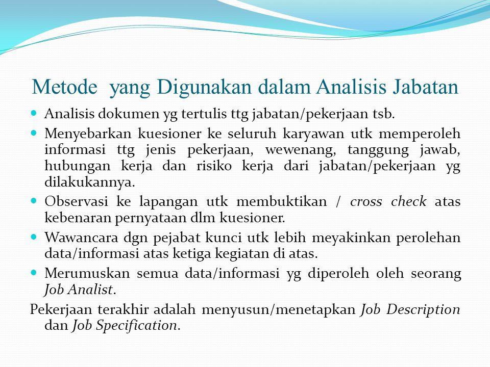 Metode yang Digunakan dalam Analisis Jabatan Analisis dokumen yg tertulis ttg jabatan/pekerjaan tsb. Menyebarkan kuesioner ke seluruh karyawan utk mem