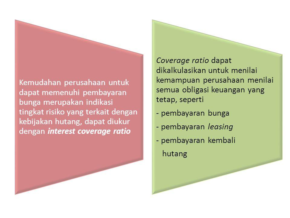 Kemudahan perusahaan untuk dapat memenuhi pembayaran bunga merupakan indikasi tingkat risiko yang terkait dengan kebijakan hutang, dapat diukur dengan interest coverage ratio Coverage ratio dapat dikalkulasikan untuk menilai kemampuan perusahaan menilai semua obligasi keuangan yang tetap, seperti - pembayaran bunga - pembayaran leasing - pembayaran kembali hutang