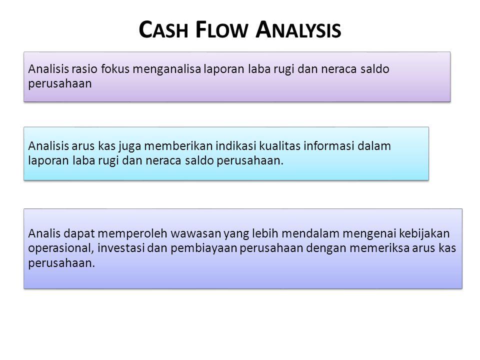 C ASH F LOW A NALYSIS Analisis rasio fokus menganalisa laporan laba rugi dan neraca saldo perusahaan Analis dapat memperoleh wawasan yang lebih mendalam mengenai kebijakan operasional, investasi dan pembiayaan perusahaan dengan memeriksa arus kas perusahaan.