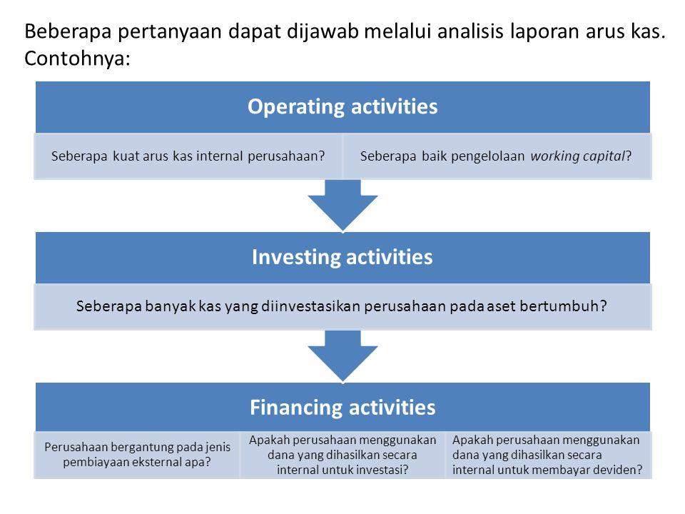 Beberapa pertanyaan dapat dijawab melalui analisis laporan arus kas.