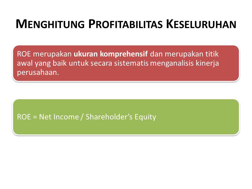 M ENDEKOMPOSISI P ROFITABILITAS : P ENDEKATAN T RADISIONAL ROE = ROA x Financial Leverage = (Net Income/Assets) x (Assets/Shareholder's equity )