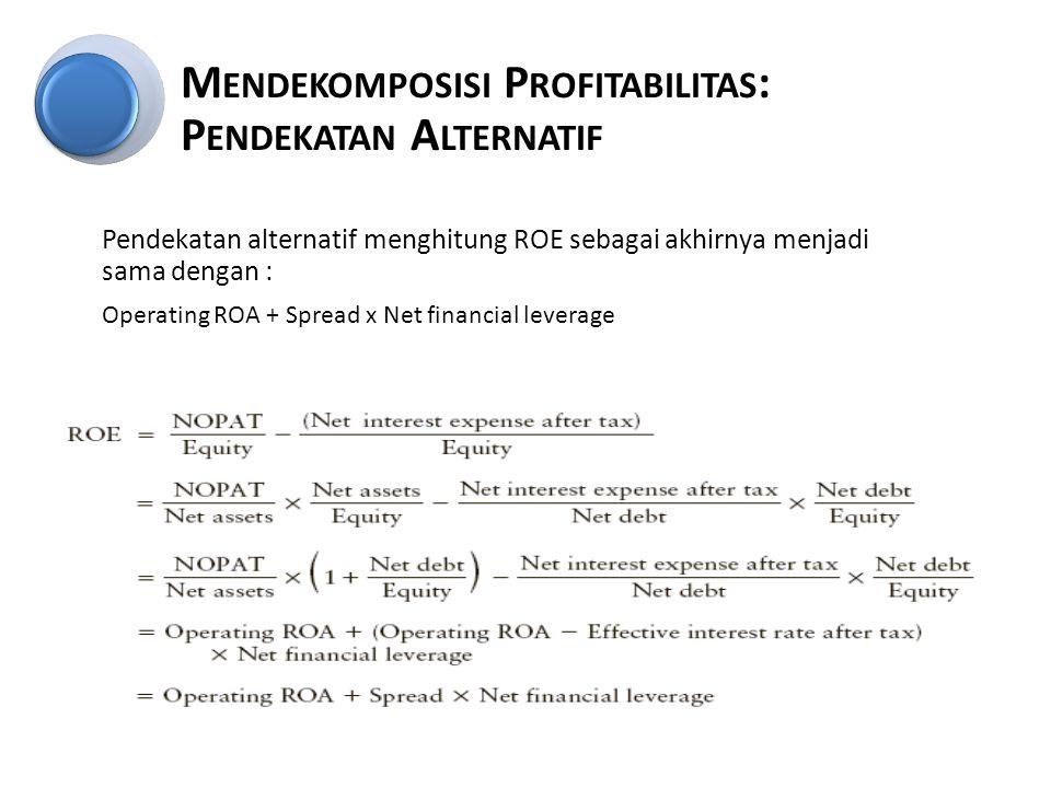 Pendekatan alternatif menghitung ROE sebagai akhirnya menjadi sama dengan : Operating ROA + Spread x Net financial leverage M ENDEKOMPOSISI P ROFITABILITAS : P ENDEKATAN A LTERNATIF