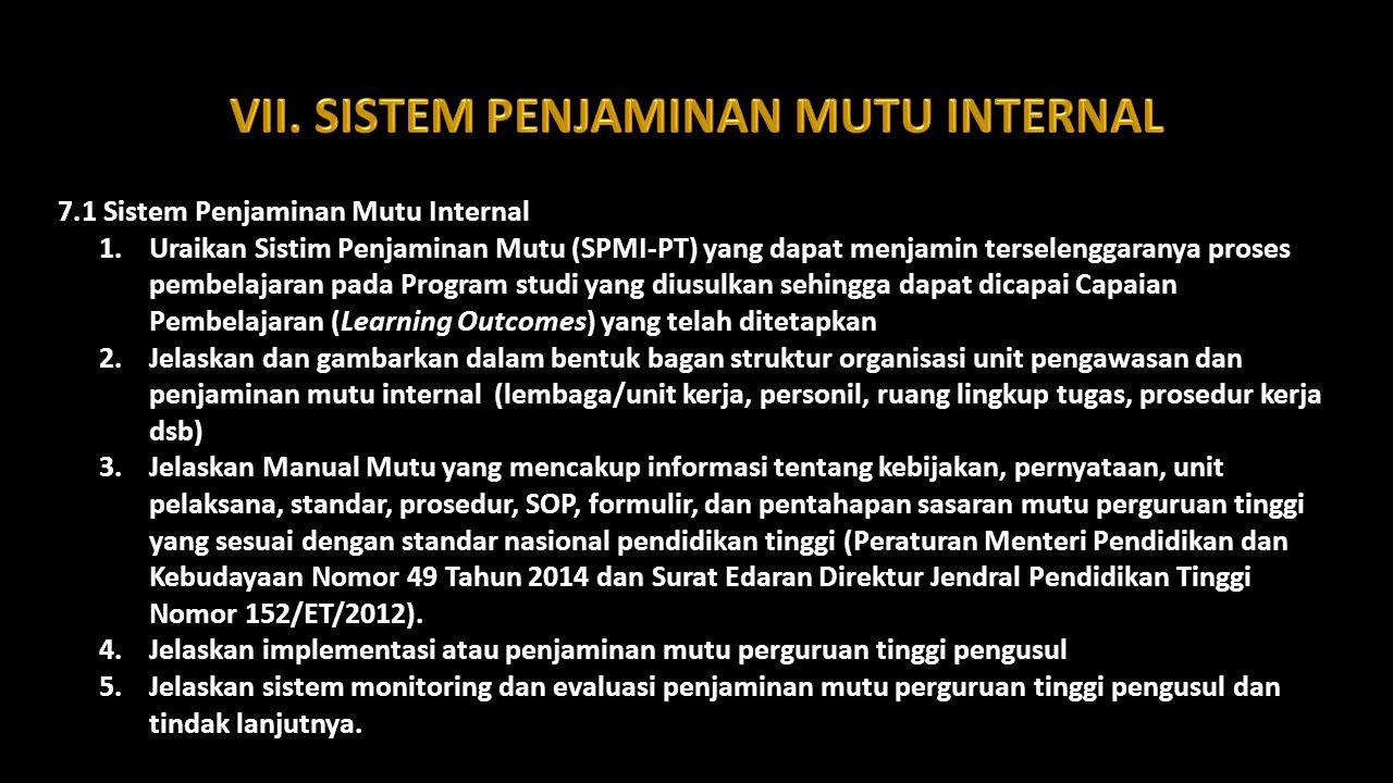7.1 Sistem Penjaminan Mutu Internal 1.Uraikan Sistim Penjaminan Mutu (SPMI-PT) yang dapat menjamin terselenggaranya proses pembelajaran pada Program s
