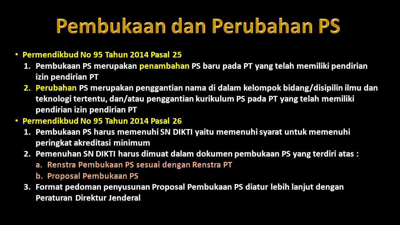 Permendikbud No 95 Tahun 2014 Pasal 25 1.Pembukaan PS merupakan penambahan PS baru pada PT yang telah memiliki pendirian izin pendirian PT 2.Perubahan