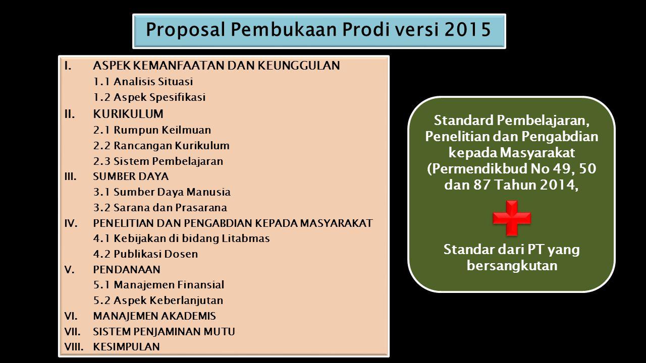 Proposal Pembukaan Prodi versi 2015 I.ASPEK KEMANFAATAN DAN KEUNGGULAN 1.1 Analisis Situasi 1.2 Aspek Spesifikasi II.KURIKULUM 2.1 Rumpun Keilmuan 2.2