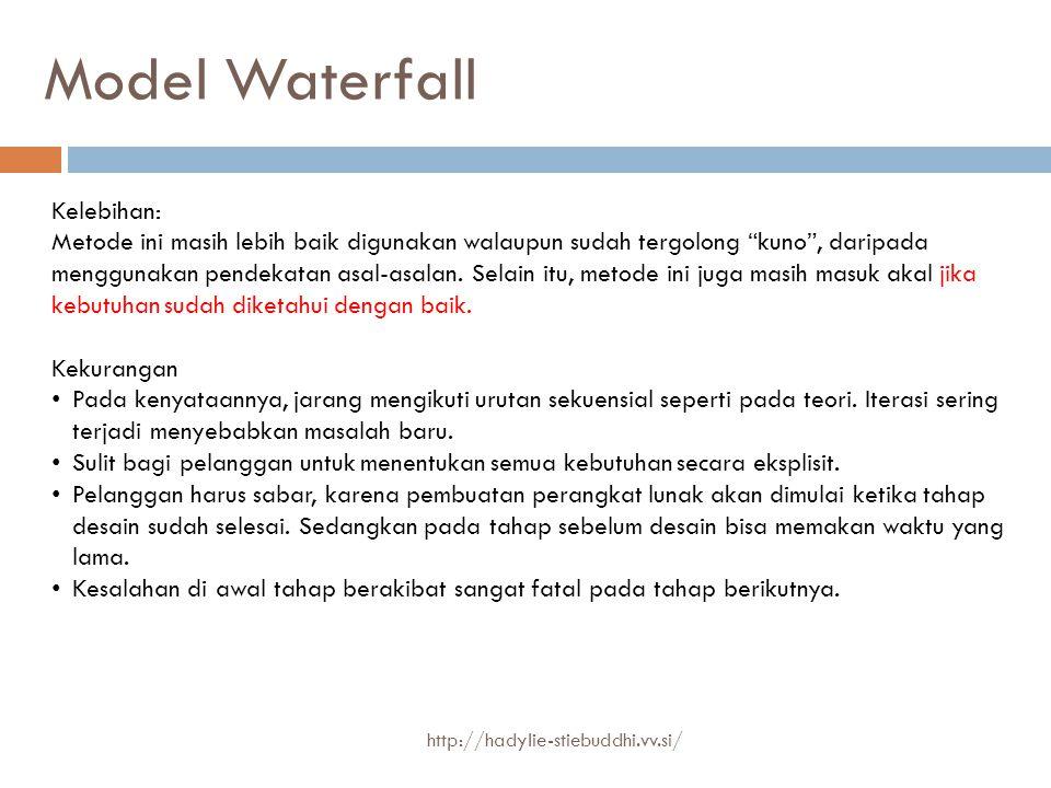 """Model Waterfall Kelebihan: Metode ini masih lebih baik digunakan walaupun sudah tergolong """"kuno"""", daripada menggunakan pendekatan asal-asalan. Selain"""