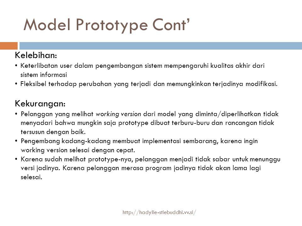 Model Prototype Cont' Kelebihan: Keterlibatan user dalam pengembangan sistem mempengaruhi kualitas akhir dari sistem informasi Fleksibel terhadap peru