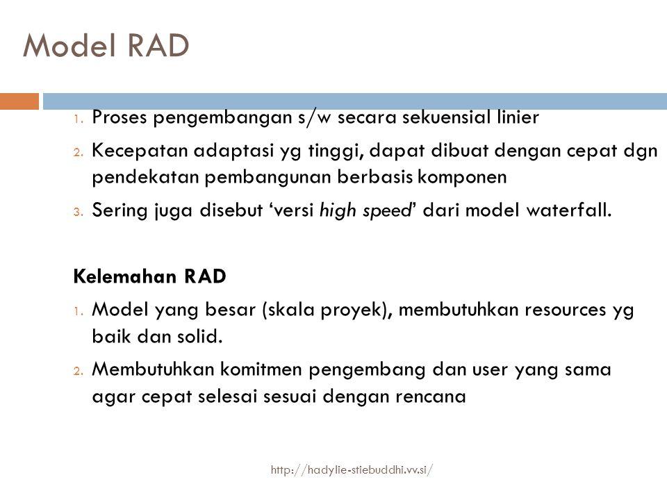 Model RAD 1. Proses pengembangan s/w secara sekuensial linier 2. Kecepatan adaptasi yg tinggi, dapat dibuat dengan cepat dgn pendekatan pembangunan be