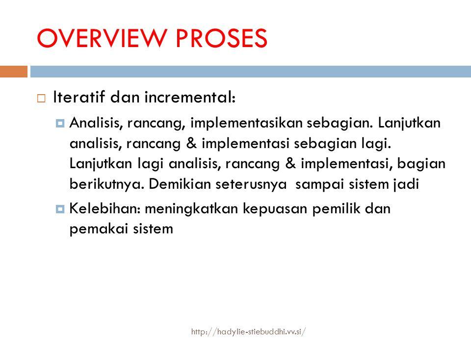 OVERVIEW PROSES  Iteratif dan incremental:  Analisis, rancang, implementasikan sebagian. Lanjutkan analisis, rancang & implementasi sebagian lagi. L