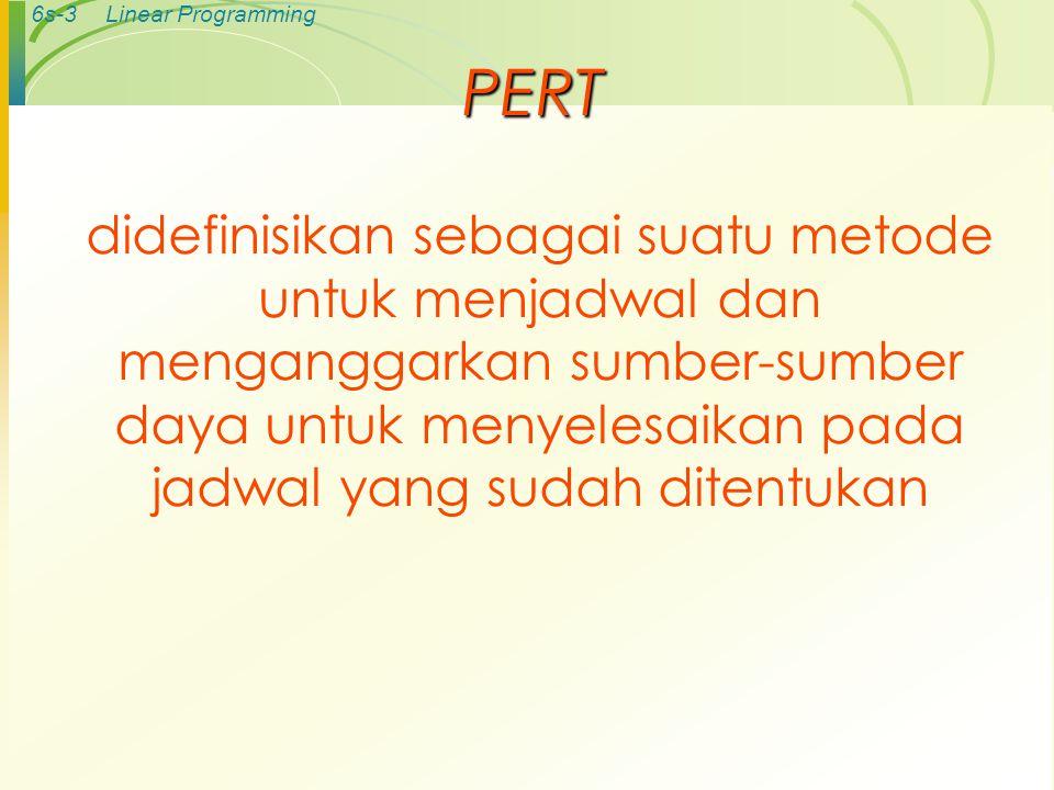 6s-3Linear Programming PERT didefinisikan sebagai suatu metode untuk menjadwal dan menganggarkan sumber-sumber daya untuk menyelesaikan pada jadwal yang sudah ditentukan