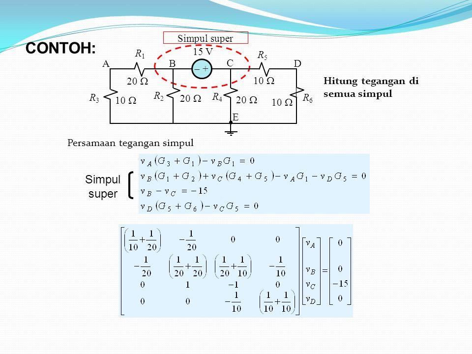 Simpul super Simpul super 10  15 V 20  10  20  10  R1R1 R2R2 R4R4 R5R5 AB C D E R6R6 R3R3  + CONTOH: Hitung tegangan di semua simpul Persamaan tegangan simpul