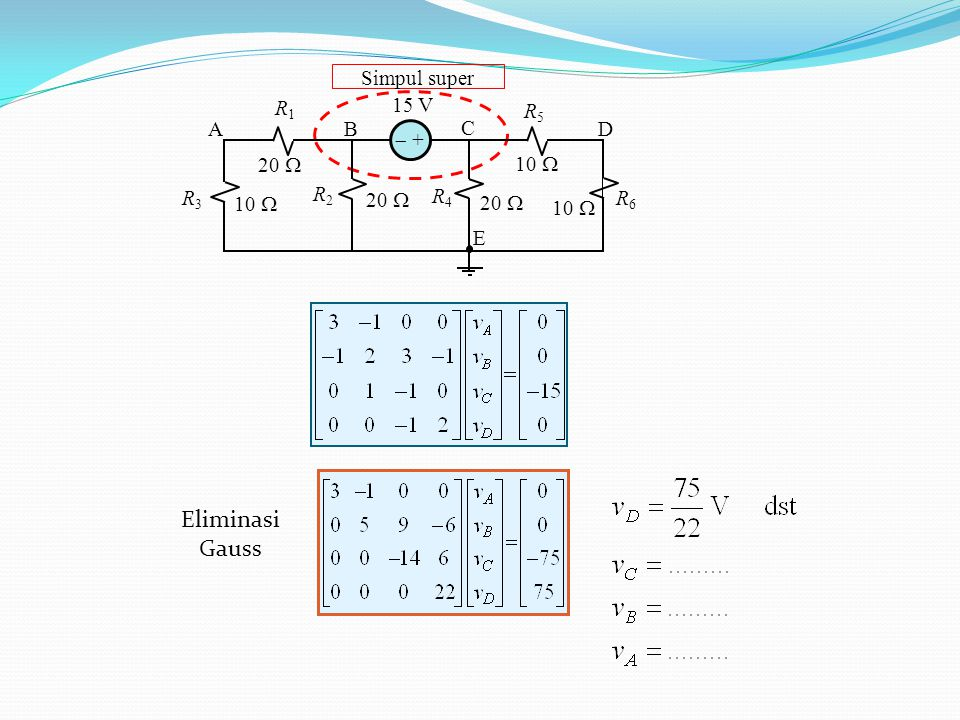 Simpul super 10  15 V 20  10  20  10  R1R1 R2R2 R4R4 R5R5 AB C D E R6R6 R3R3  + Eliminasi Gauss