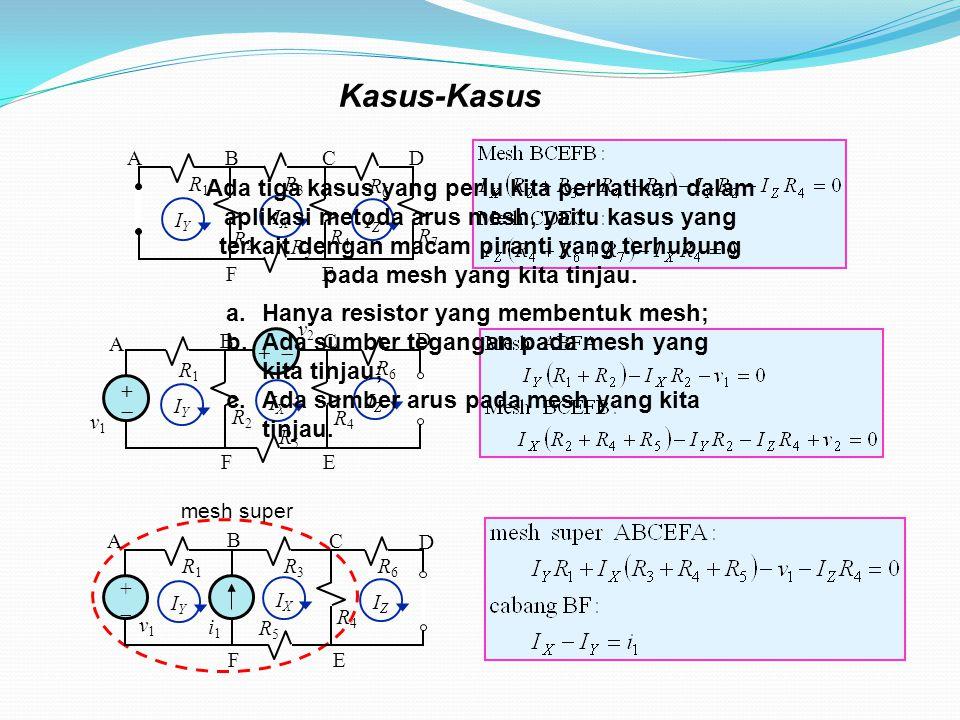 Kasus-Kasus R2R2 IZIZ R3R3 R5R5 R4R4 R1R1 R6R6 R7R7 BC EF AD IXIX IYIY R2R2 ++ R5R5 R4R4 R1R1 R6R6 v1v1 BC EF A D v2v2 +  IYIY IXIX IZIZ mesh super R3R3 ++ R5R5 R4R4 R1R1 R6R6 v1v1 B C E F A D i1i1 IYIY IXIX IZIZ Ada tiga kasus yang perlu kita perhatikan dalam aplikasi metoda arus mesh, yaitu kasus yang terkait dengan macam piranti yang terhubung pada mesh yang kita tinjau.