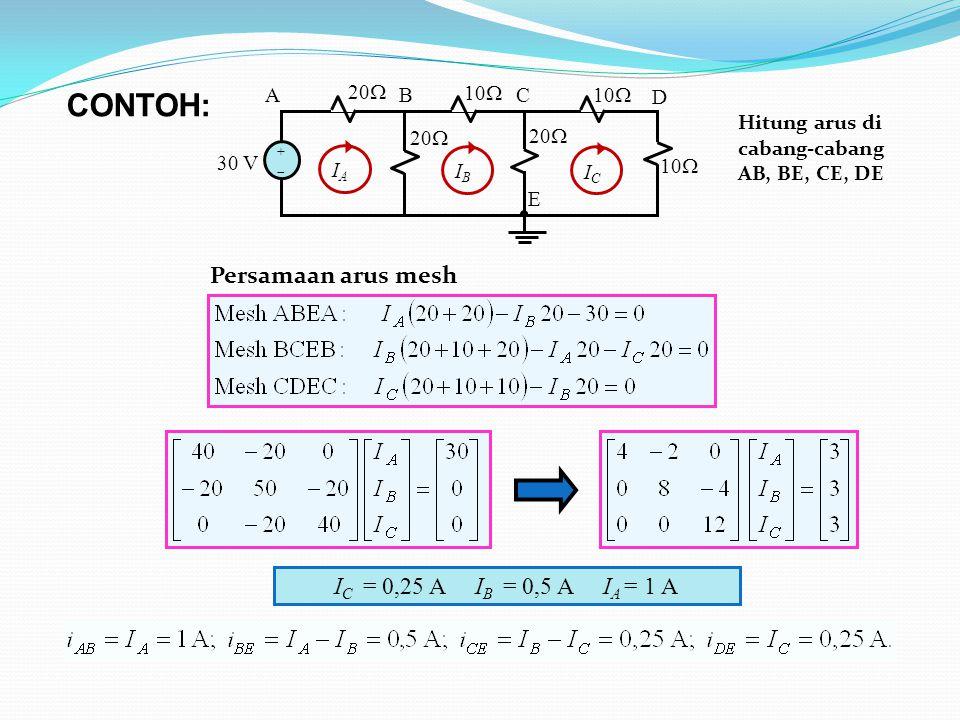 10  30 V 20  10  20  10  AB C D E ++ ICIC IBIB IAIA I C = 0,25 A I B = 0,5 A I A = 1 A CONTOH: Persamaan arus mesh Hitung arus di cabang-cabang AB, BE, CE, DE