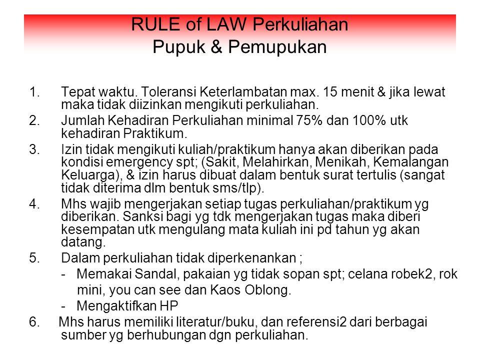 RULE of LAW Perkuliahan Pupuk & Pemupukan 1.Tepat waktu.