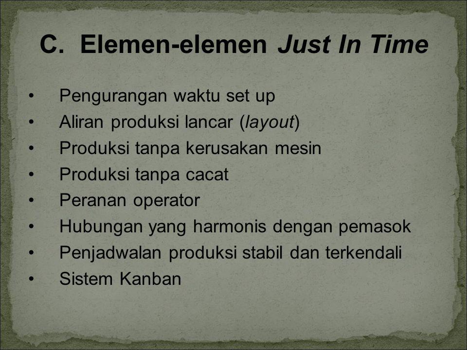 C. Elemen-elemen Just In Time Pengurangan waktu set up Aliran produksi lancar (layout) Produksi tanpa kerusakan mesin Produksi tanpa cacat Peranan ope