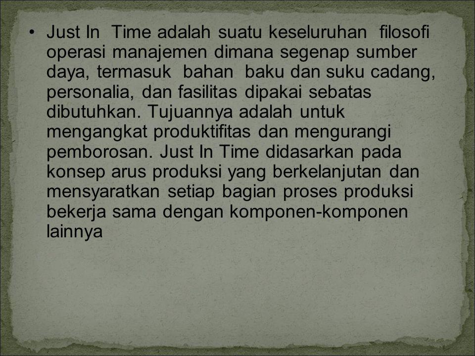 Just In Time adalah suatu keseluruhan filosofi operasi manajemen dimana segenap sumber daya, termasuk bahan baku dan suku cadang, personalia, dan fasi