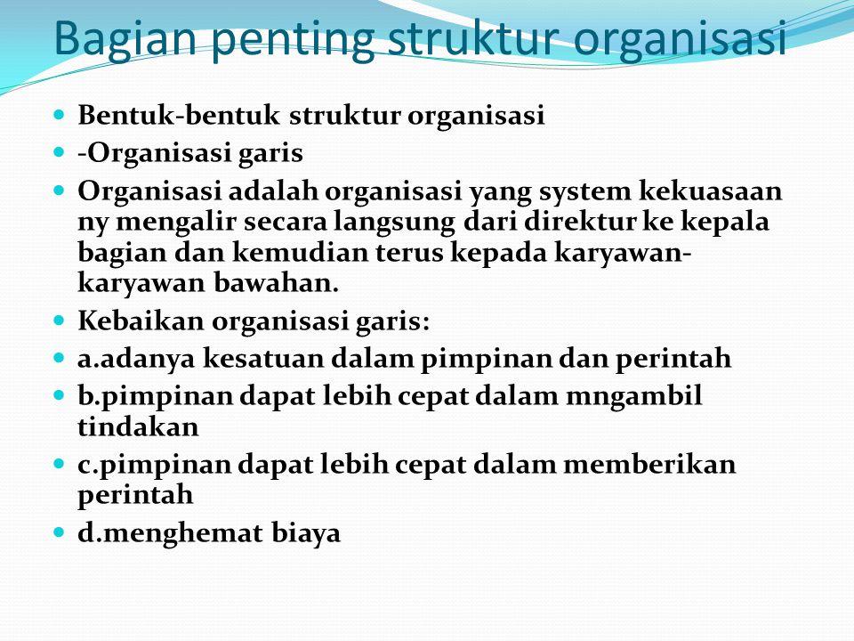 Bagian penting struktur organisasi Bentuk-bentuk struktur organisasi -Organisasi garis Organisasi adalah organisasi yang system kekuasaan ny mengalir secara langsung dari direktur ke kepala bagian dan kemudian terus kepada karyawan- karyawan bawahan.