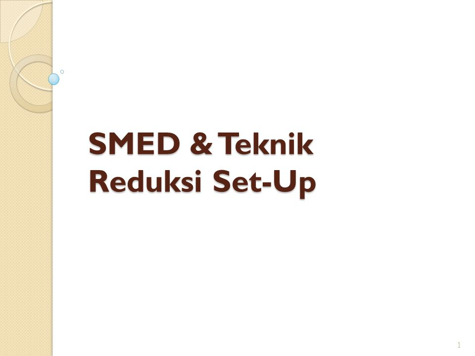 The SMED System Step-by-step method to reduce setup time Developed by Shigeo Shingo Applicable in all industries Useful in streamlining other processes 2 xchange of S M E D ingle inute ie setup in under 10 minutes