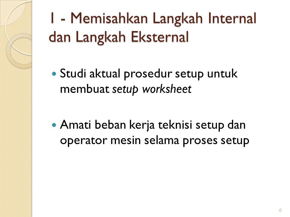 1 - Memisahkan Langkah Internal dan Langkah Eksternal Studi aktual prosedur setup untuk membuat setup worksheet Amati beban kerja teknisi setup dan op