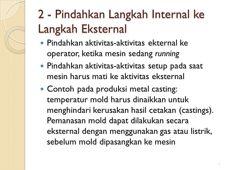 2 - Pindahkan Langkah Internal ke Langkah Eksternal Pindahkan aktivitas-aktivitas ekternal ke operator, ketika mesin sedang running Pindahkan aktivita