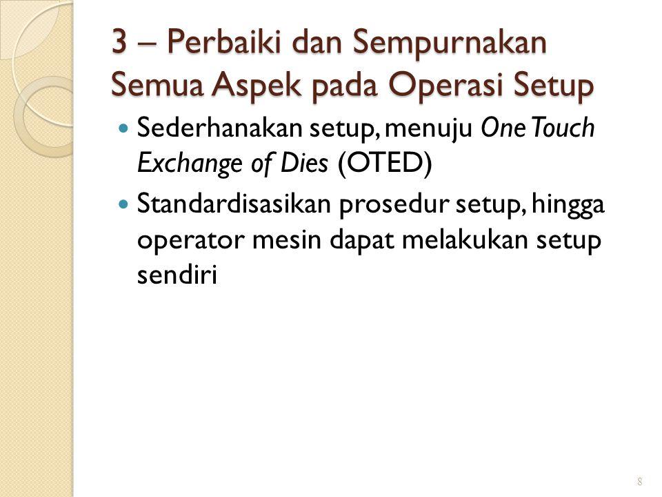 3 – Perbaiki dan Sempurnakan Semua Aspek pada Operasi Setup Sederhanakan setup, menuju One Touch Exchange of Dies (OTED) Standardisasikan prosedur set