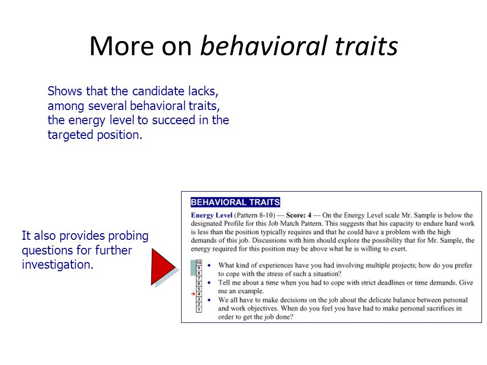 More on behavioral traits Shows that the candidate lacks, among several behavioral traits, the energy level to succeed in the targeted position.