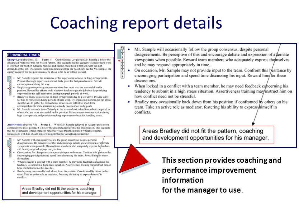 Coaching report details This section provides coaching and performance improvement information for the manager to use.