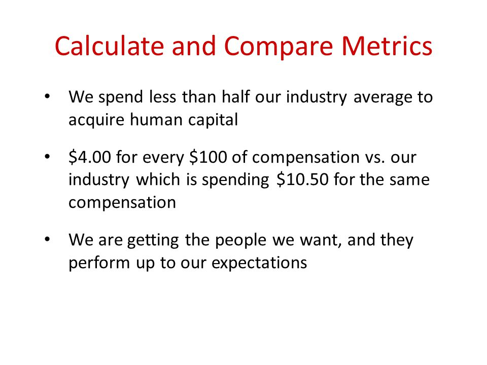 Calculate and Compare Metrics We spend less than half our industry average to acquire human capital $4.00 for every $100 of compensation vs.