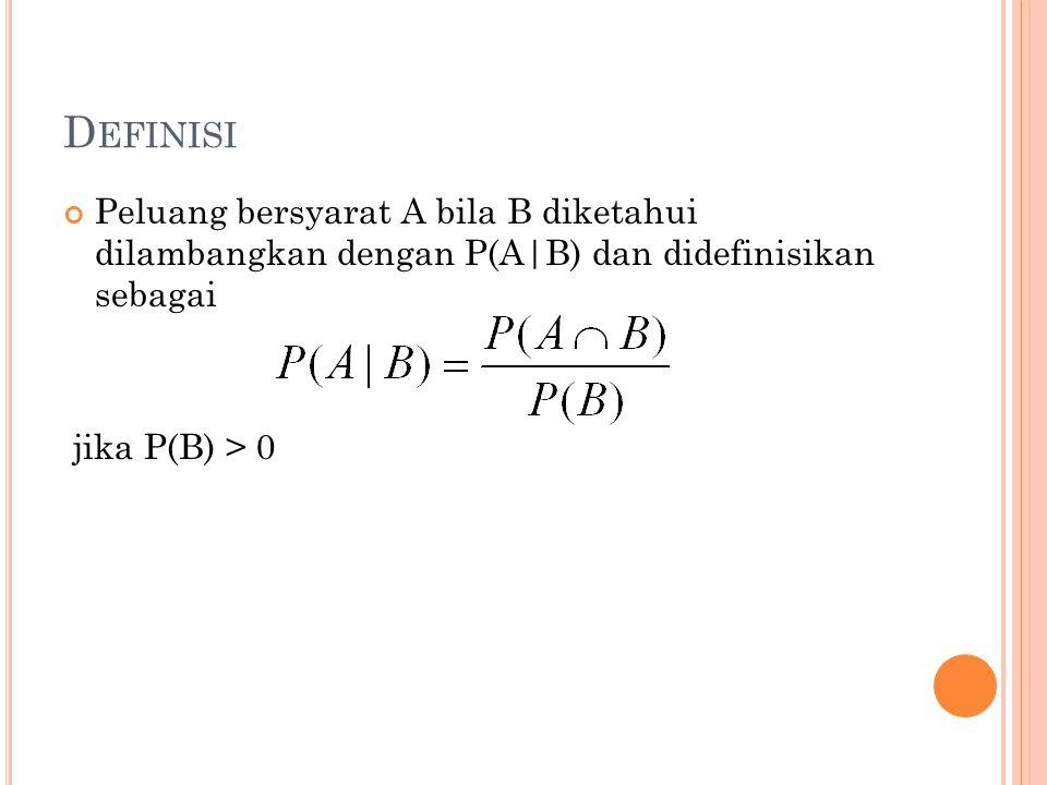 D EFINISI Peluang bersyarat A bila B diketahui dilambangkan dengan P(A|B) dan didefinisikan sebagai jika P(B) > 0