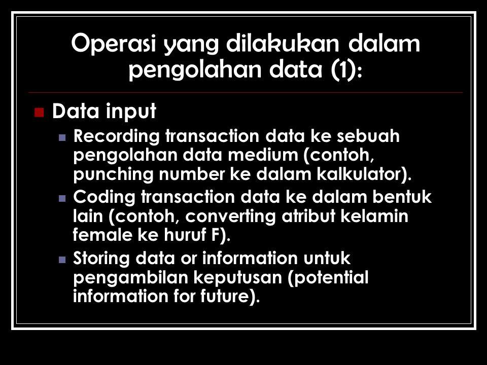 Operasi yang dilakukan dalam pengolahan data (1): Data input Recording transaction data ke sebuah pengolahan data medium (contoh, punching number ke dalam kalkulator).