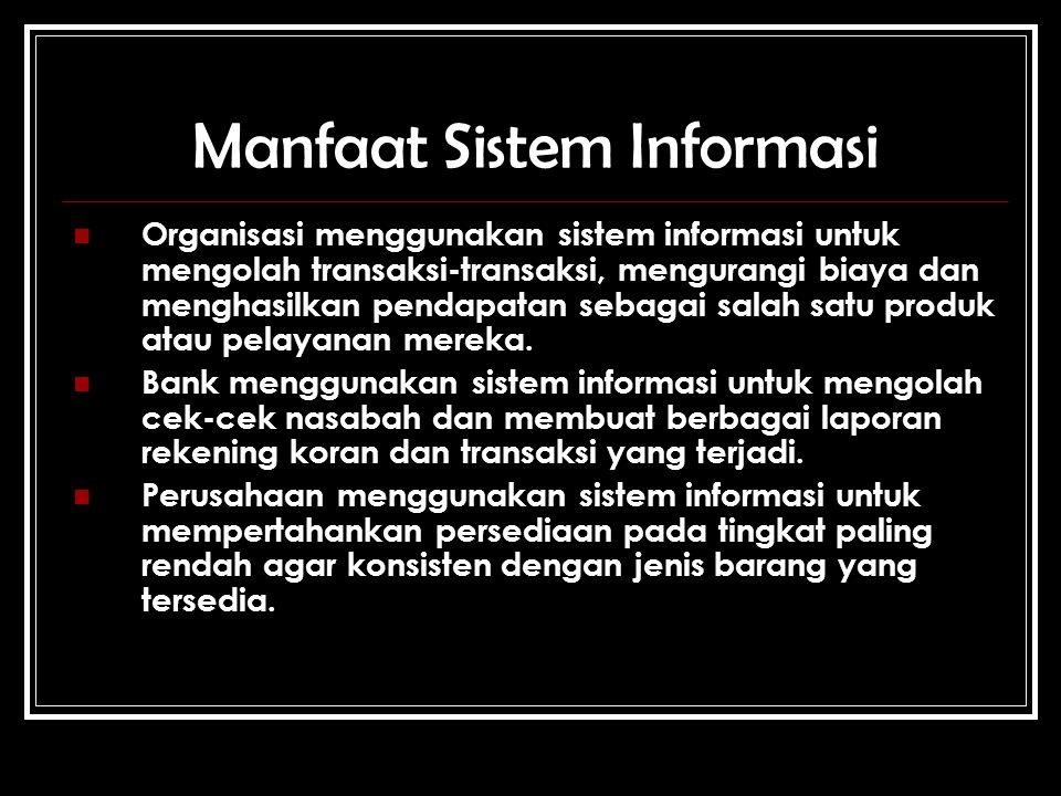 Manfaat Sistem Informasi Organisasi menggunakan sistem informasi untuk mengolah transaksi-transaksi, mengurangi biaya dan menghasilkan pendapatan sebagai salah satu produk atau pelayanan mereka.