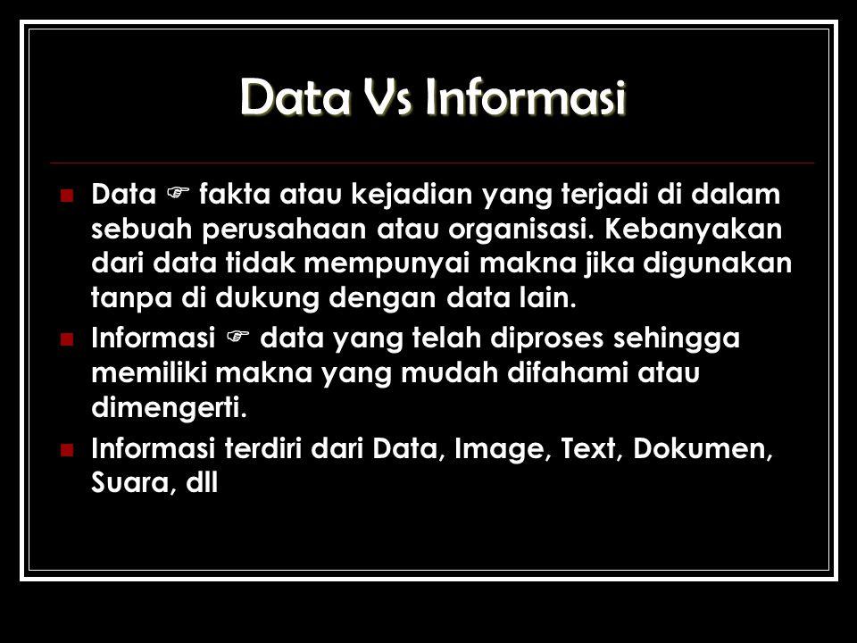 Data Vs Informasi Data  fakta atau kejadian yang terjadi di dalam sebuah perusahaan atau organisasi.