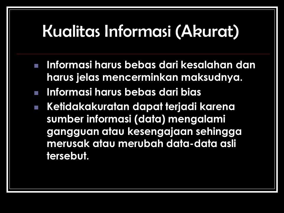 Kualitas Informasi (Akurat) Informasi harus bebas dari kesalahan dan harus jelas mencerminkan maksudnya.