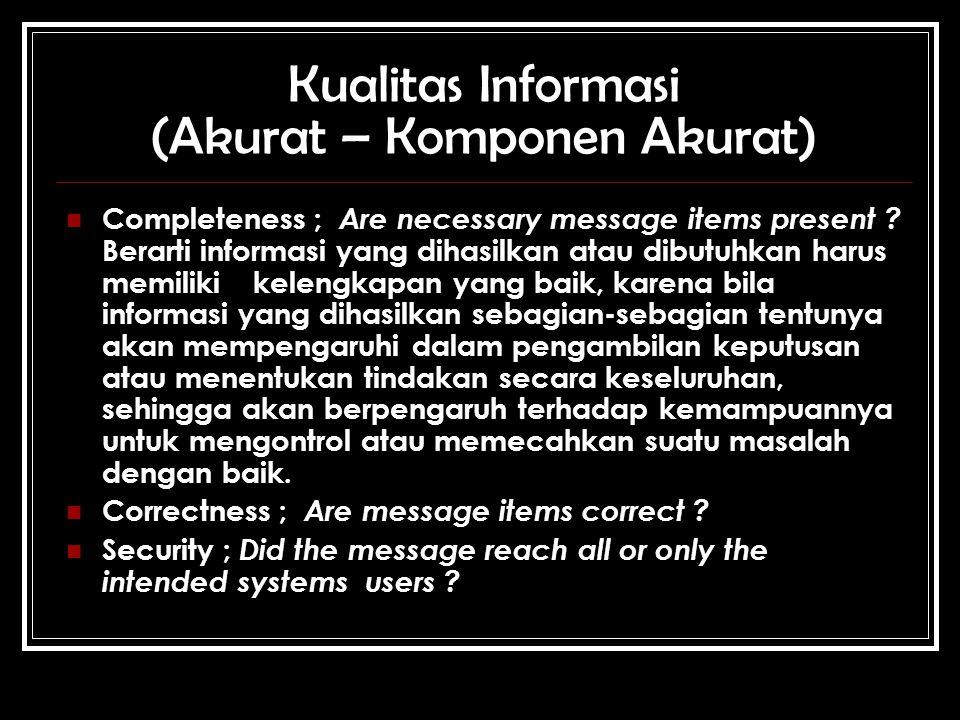 Kualitas Informasi (Akurat – Komponen Akurat) Completeness ; Are necessary message items present .