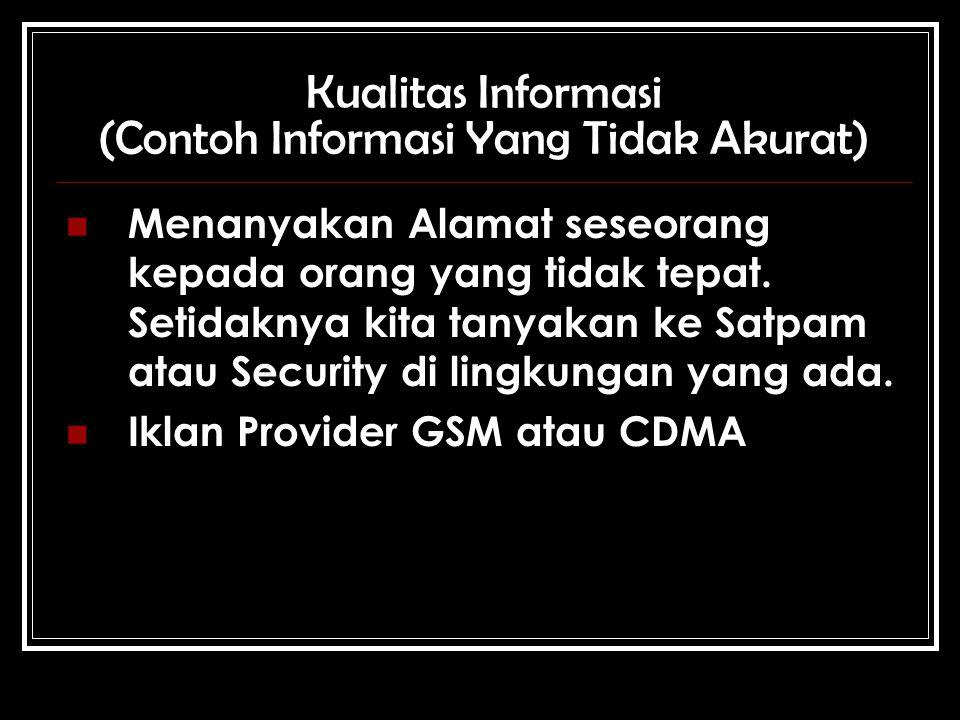 Kualitas Informasi (Contoh Informasi Yang Tidak Akurat) Menanyakan Alamat seseorang kepada orang yang tidak tepat.