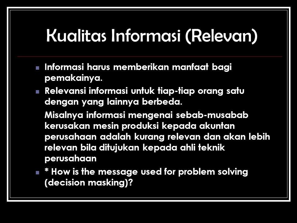 Kualitas Informasi (Relevan) Informasi harus memberikan manfaat bagi pemakainya.