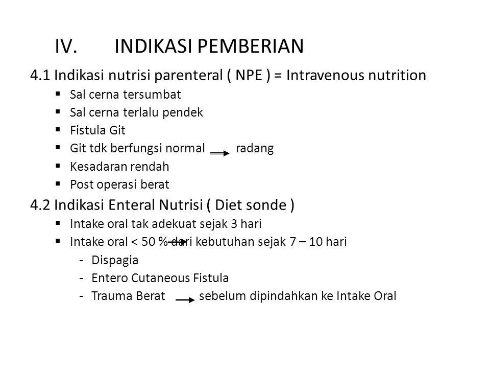 IV.INDIKASI PEMBERIAN 4.1 Indikasi nutrisi parenteral ( NPE ) = Intravenous nutrition  Sal cerna tersumbat  Sal cerna terlalu pendek  Fistula Git 