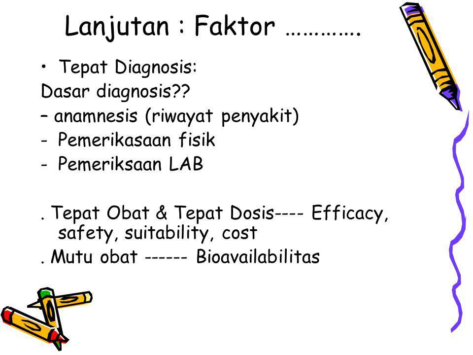 Lanjutan : Faktor ………….Tepat Diagnosis: Dasar diagnosis?.