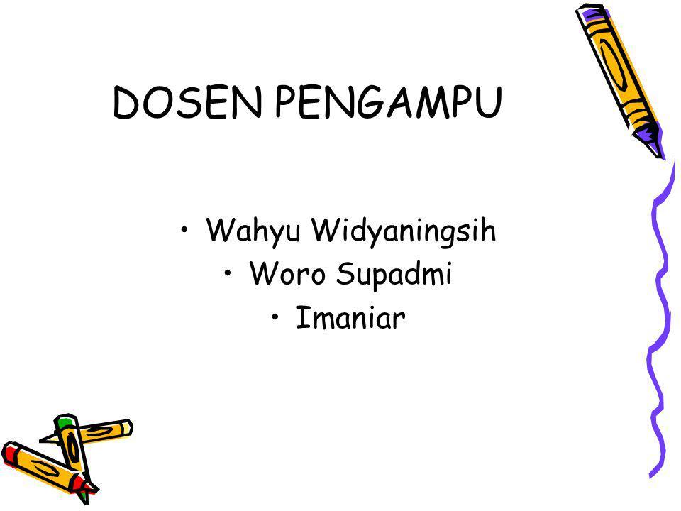 DOSEN PENGAMPU Wahyu Widyaningsih Woro Supadmi Imaniar