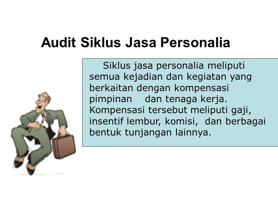 Audit Siklus Jasa Personalia Siklus jasa personalia meliputi semua kejadian dan kegiatan yang berkaitan dengan kompensasi pimpinan dan tenaga kerja. K