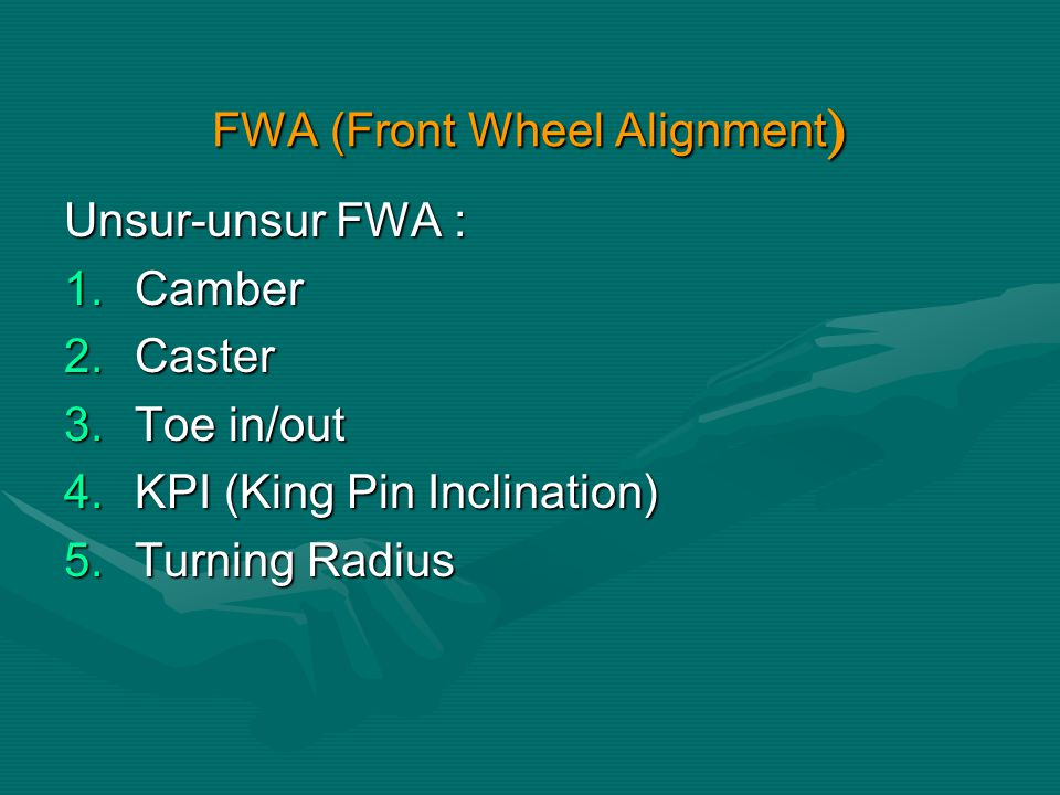 SPOORING (WHEEL ALIGNMENT) Adalah teknik penyetelan posisi roda di antaranya menyetel : camber, caster, toe- in, atau turning radiusAdalah teknik penyetelan posisi roda di antaranya menyetel : camber, caster, toe- in, atau turning radius GEJALA:GEJALA: 1.