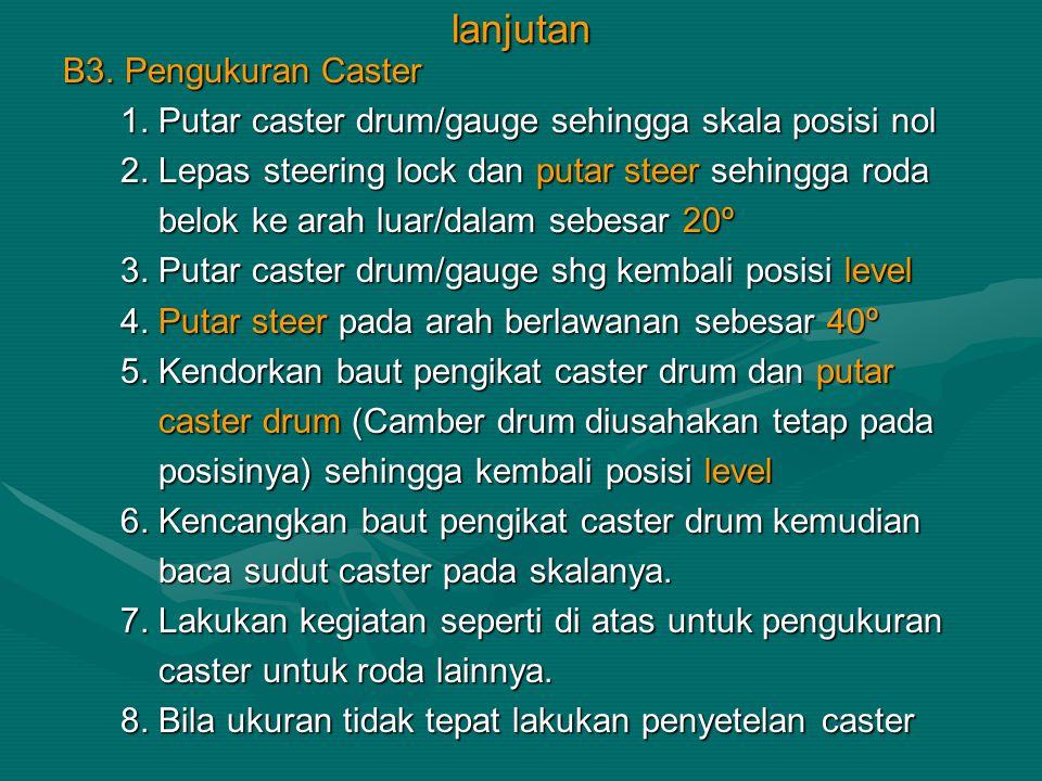 lanjutan B3. Pengukuran Caster 1. Putar caster drum/gauge sehingga skala posisi nol 1. Putar caster drum/gauge sehingga skala posisi nol 2. Lepas stee